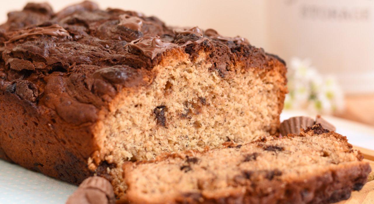 Torta de banana, chocolate y mantequilla de maní (con Nutella y Reeses!)