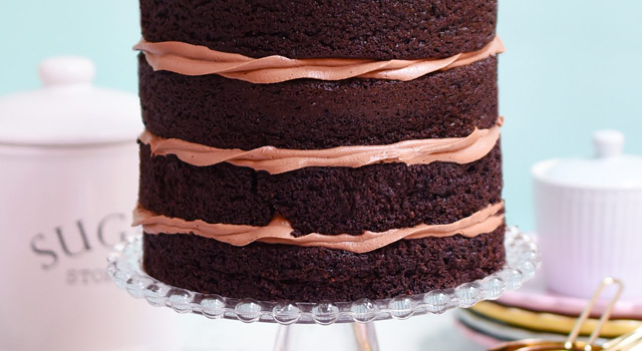 Torta de chocolate libre de gluten con buttercream de chocolate