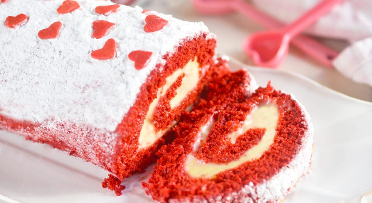 Brazo gitano (o cake roll) de Red Velvet