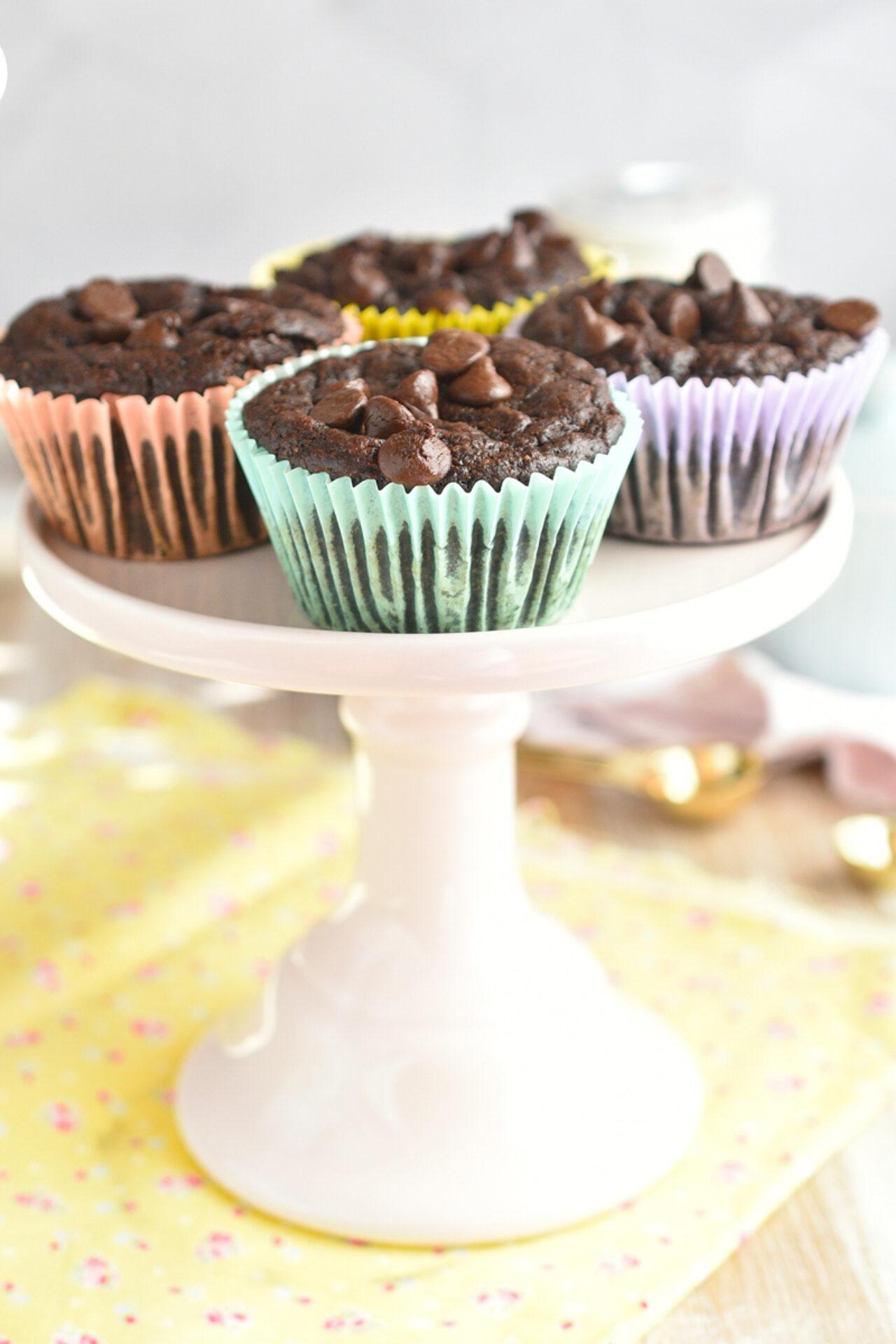 Muffins de chocolate y banana sin gluten, sin lactosa y sin azúcar añadida