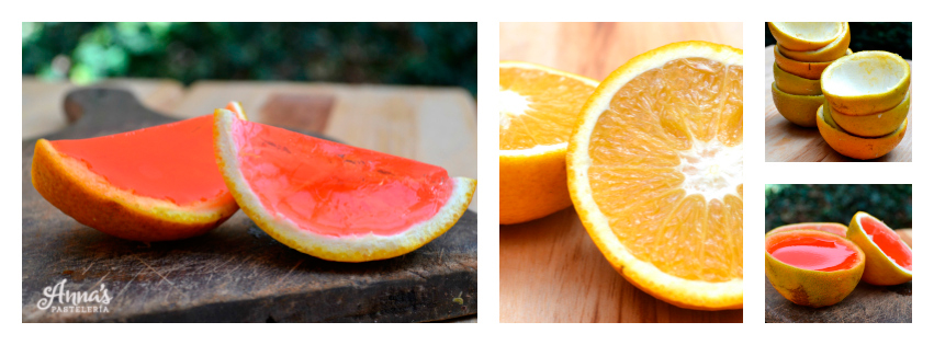 Jellyshots en cáscara de naranja www.annaspasteleria.com