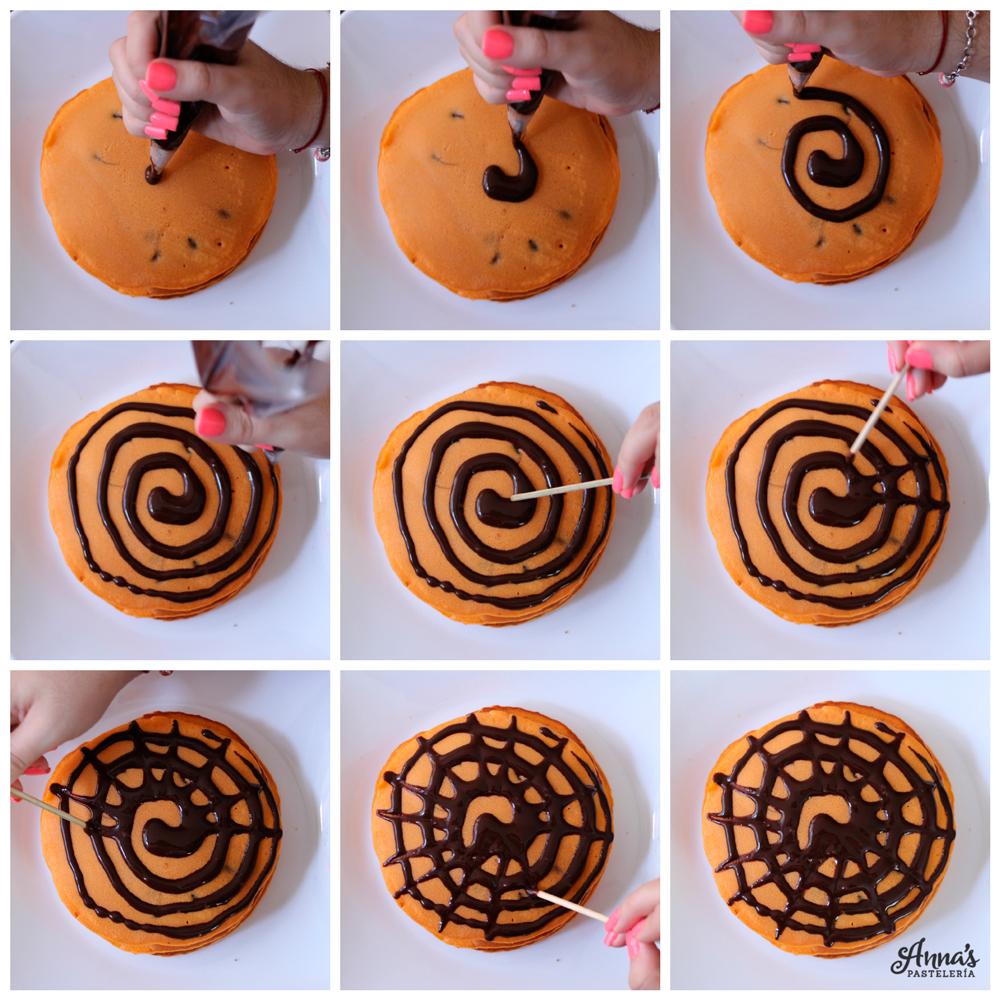 Cómo hacer panquecas / panqueques / tortitas de halloween www.annaspasteleria.com