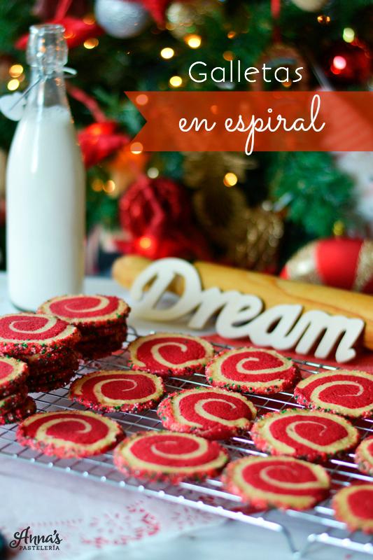 Galletas de vainilla en espiral, preciosas para regalar, deliciosas y con una explicación súper detallada (y hasta graciosa) de cómo hacerlas! en www.annaspasteleria.com
