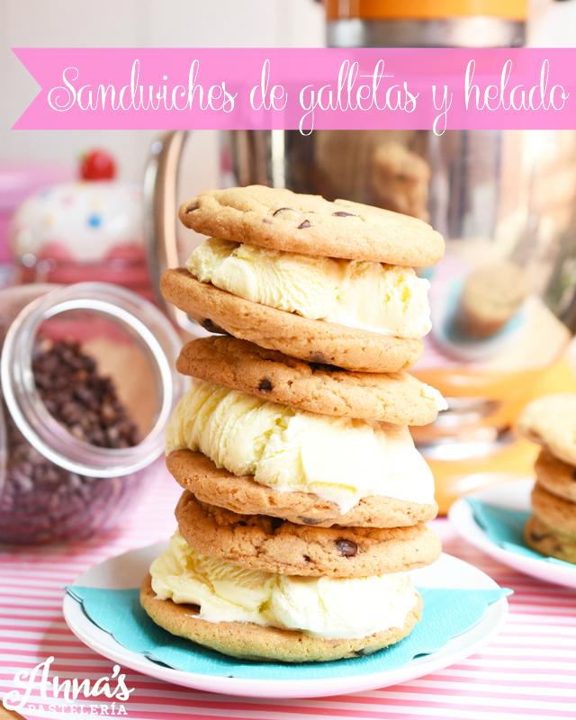 Receta de sandwiches de galletas de chocolate chips y helado, una receta DELICIOSA de Anaisa Lopez de annas pasteleria - Ice cream cookie sandwiches recipe from annaspasteleria.com food blog